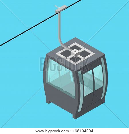 Funicular Cable Railway Ropeway for Winter Tourism Isometric View on a Blue Background. Vector illustration