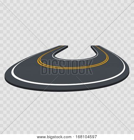 Perspective Curved Turning Road on a Transparent Background for Web, App and Game. Vector illustration