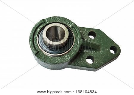 Roller bearings on white background. industry, construction
