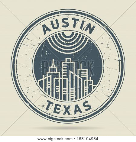 Grunge rubber stamp or label with text Austin Texas written inside vector illustration
