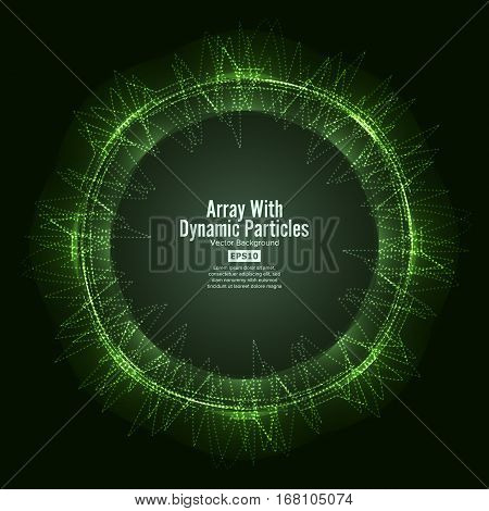 Array Vector With Splash Emitted Particles. Round Shape Of Particles Array. Visualization Abstract Background With Swirled Stripes