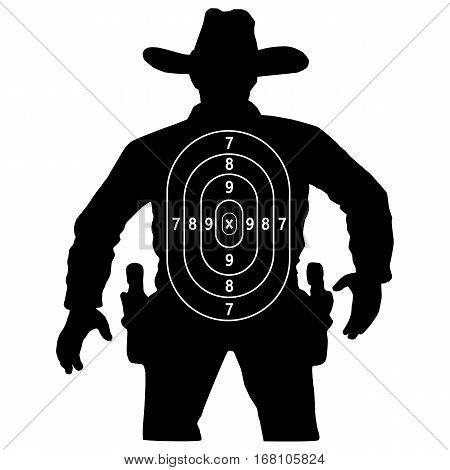 set cowboy duel target vector insulated circuit silhouette training