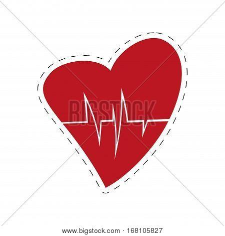 heart rate health cardiology symbol cut line vector illustration eps 10