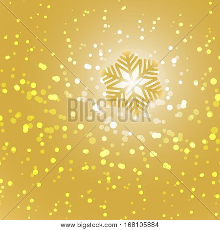 Gold snowflake and snow abstract background stock vector