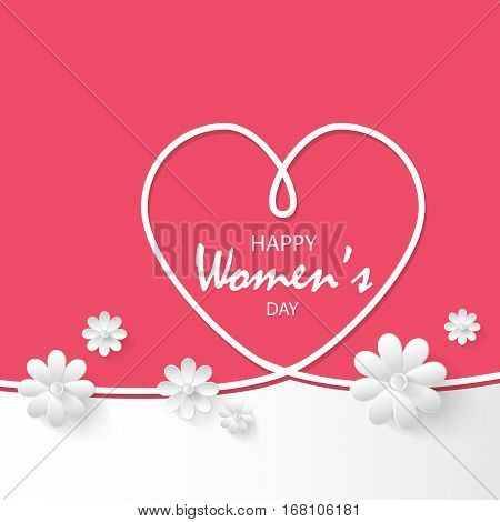 Pink festive background White heart with ribbon and white paper flowers on pink background.