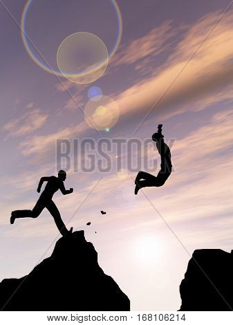 Concept or conceptual young 3D illustration man or businessman silhouette jump happy from cliff over gap sunset sunrise sky background  for freedom, nature, mountain, success, free, joy, health risk