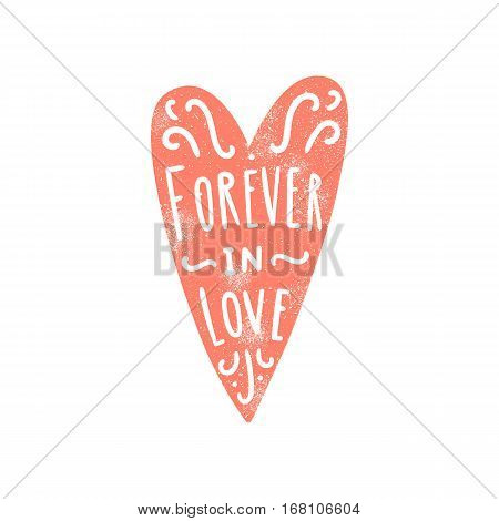 Forever in love. Heart silhouette and hand written text. Vector illustration