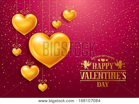 Valentines Day congratulation design with shiny and glossy golden hearts, symbol of love and calligraphy inscription on red background. Vector illustration.
