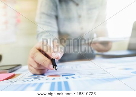 Businessman Analyst Data And Using Tablet