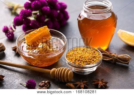product of bee- honeycomb, pollen, propolis, honey concept
