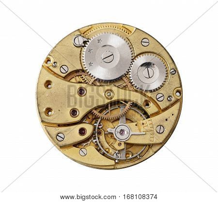 Detail of the old and dismantled clockwork mechanism on white background