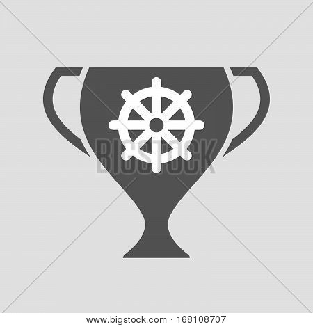 Isolated Award Cup With A Dharma Chakra Sign