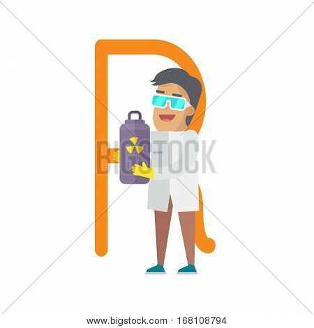 R letter and scientist with radiation tube container. Human characters in white gowns with scientific equipment. Alphabet series with people. Physics and physicist. Educational concept. ABC vector