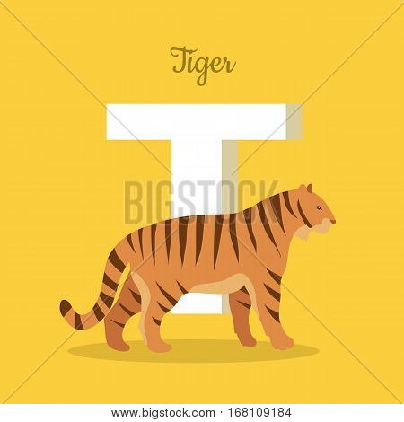 Animal alphabet. Letter - T. Striped tiger stands near letter. Alphabet learning chart with animal illustration for letter and animal name. Vector zoo alphabet with cartoon animal on yellow background