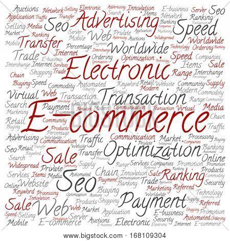 Vector concept or conceptual E-commerce electronic sales square word cloud isolated on background metaphor to seo, optimization, transaction, web advertising, e-business, technology, worldwide supply