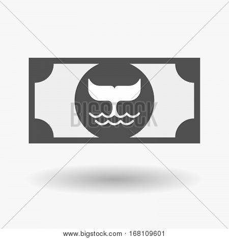 Isolated  Bank Note With A Whale Tail