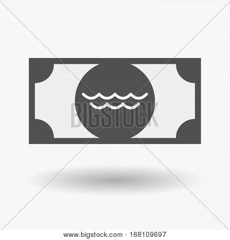 Isolated  Bank Note With A Water Sign