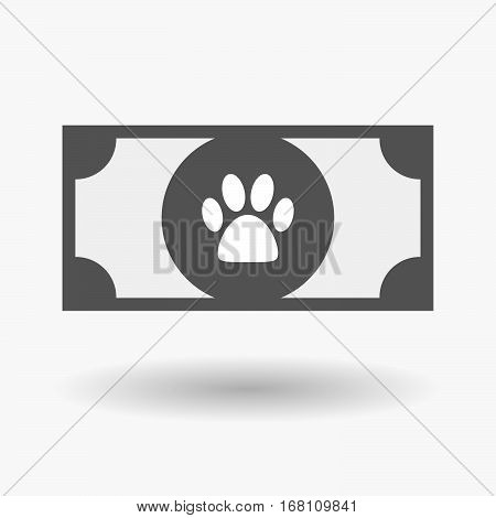 Isolated  Bank Note With An Animal Footprint