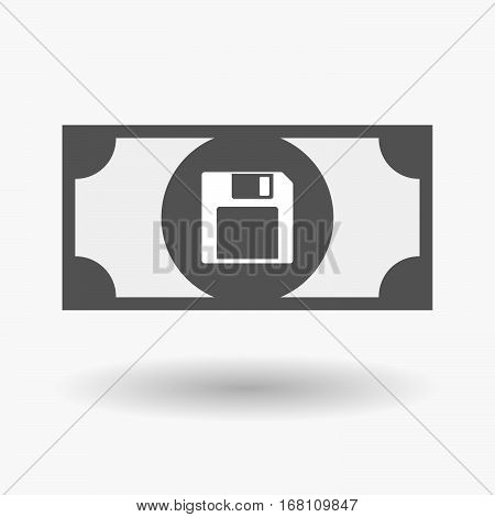 Isolated  Bank Note With A Floppy Disk