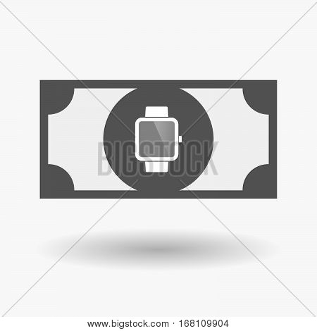 Isolated  Bank Note With A Smart Watch
