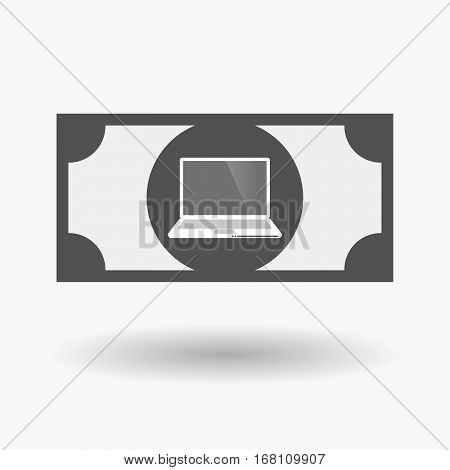 Isolated  Bank Note With A Laptop