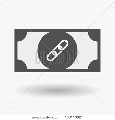 Isolated  Bank Note With A Chain