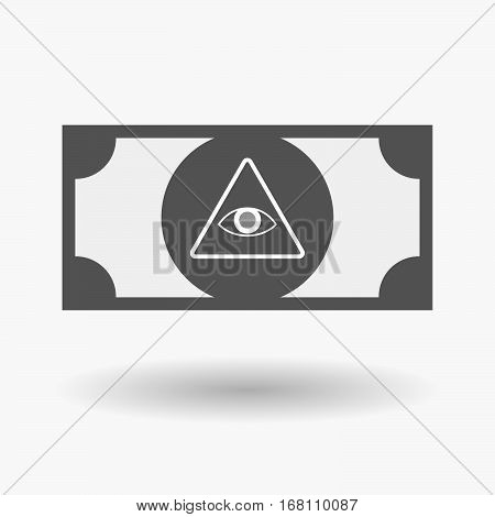 Isolated  Bank Note With An All Seeing Eye