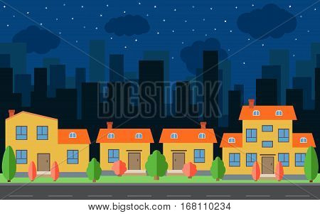 Vector night city with cartoon houses and buildings. City space with road on flat style background concept. Summer urban landscape. Street view with cityscape on a background
