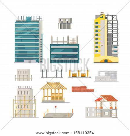 Building. Set of icons of different processes. Stages of modern building constructions. Unfinished houses. Wall construction. Wooden houses. Making basement. Flat design. Vector illustration