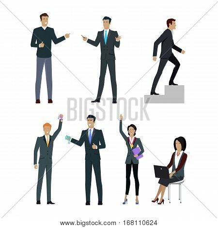 Set of people managers wishing to show their results in professional growth. Business training set. Successful motivational management. Personnel motivation, successful leadership. Vector illustration