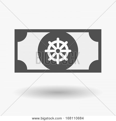 Isolated  Bank Note With A Dharma Chakra Sign