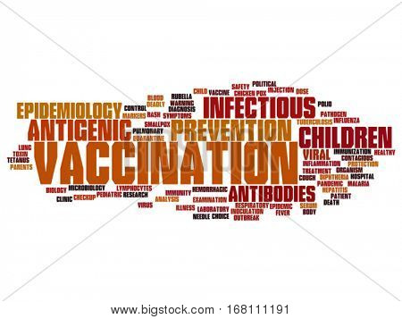 Vector concept or conceptual children vaccination or viral prevention abstract word cloud isolated on background metaphor to infectious antigenic, antibodies, epidemiology, immunization or inoculation