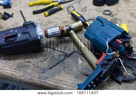Mechanic Repairing Electrical Starter ,coil ,rotor