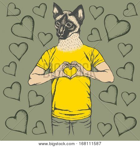 Cat Valentine day vector concept. Illustration of cat head on human body. Siam cat showing heart shape