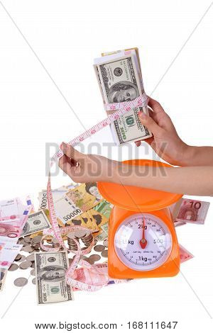 Currency and Economic Concepts by Country onn white background