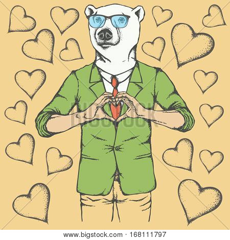 Polar bear Valentine day vector concept. Illustration of white bear head on human body. Bear showing heart shape