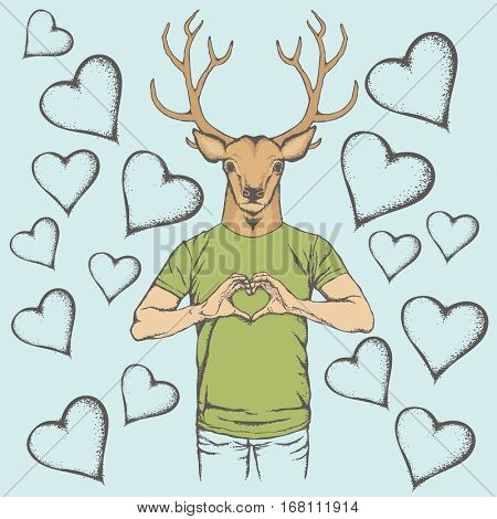 Deer Valentine day vector concept. Illustration of deer head on human body. Rein deer showing heart shape