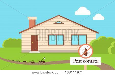 Pest control concept vector in flat style design. Ants run away from home. Insect prohibitory sign. Chemical treatment and protection against termites, cockroaches, fleas, agricultural pests.