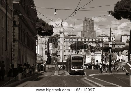 ROME - MAY 12: Street view with traffic and old buildings on May 12, 2016 in Rome, Italy. Rome ranked 14th in the world, and 1st the most popular tourism attraction in Italy.