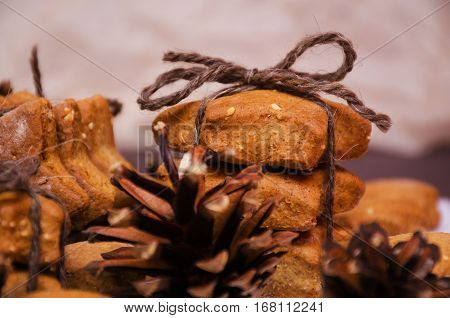 Homemade Rye Cookies Star Shaped Stack Tied With Brown Rope