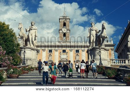 ROME - MAY 12: Piazza del Campidoglio with tourists on May 12, 2016 in Rome, Italy. Rome ranked 14th in the world, and 1st the most popular tourism attraction in Italy.
