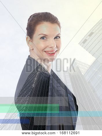 Young business woman with double exposure effect