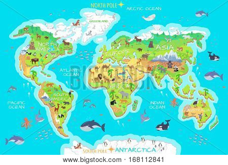 World geographical map with flora and fauna. Animals of land, oceans. North and South America, Europe, Asia, Australia, Africa, Antarctica. Vector illustration. Pacific, Atlantic Indian Arctic Ocean