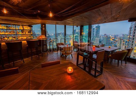 View from the top of Bangkok Building rooftop bar & restaurant on January 5, 2017 in Bangkok, Thailand. Bangkok Building is a rooftop bar on the 40 rd floor