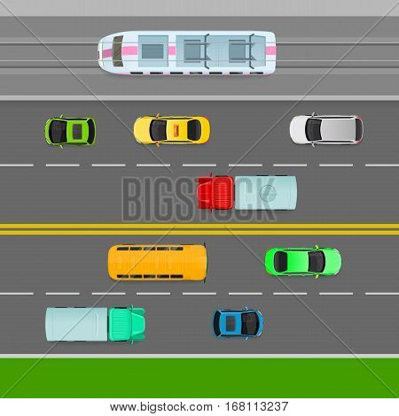 Traffic flows on left side of road. Two way lane. Truck, trolleybus bus car, taxi on the road. Auto transport banner. Transportation system. Structural road design. Line markings. Vector Illustration