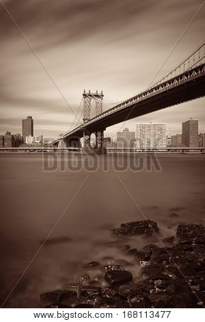 Manhattan Bridge and downtown New York City waterfront