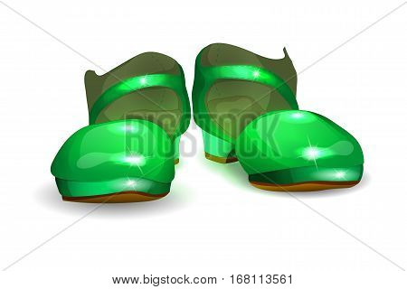 vector illustration of baby shoes for girls. green Slippers