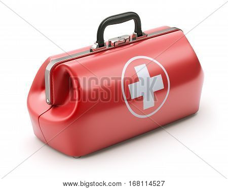 First aid kit in retro red doctor's bag - 3D illustration