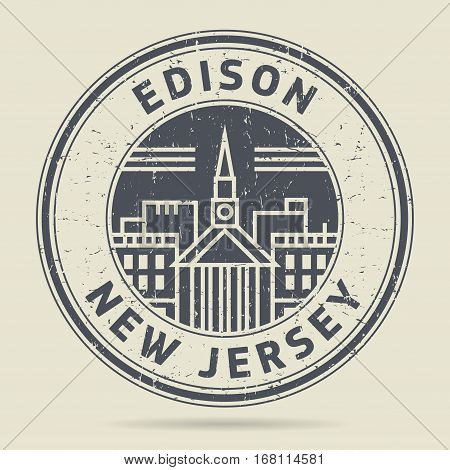 Grunge rubber stamp or label with text Edison New Jersey written inside vector illustration