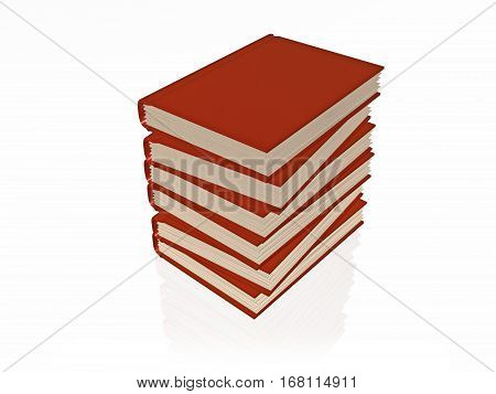 Stack of red books white reflective background 3D illustration.
